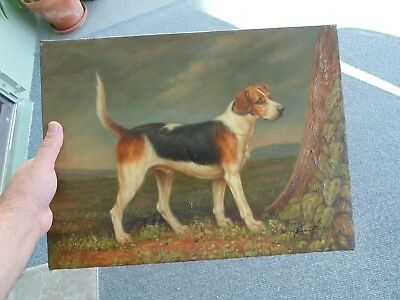 Nice Vintage Oil Painting Hunting Dog Retriever Pointer Hound Looks Great