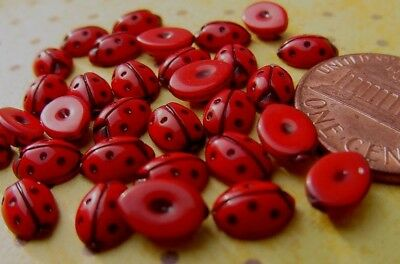 Vintage Small 5 x 7mm Red Lucite Ladybug Cabs Japan 24