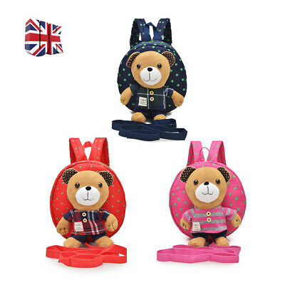 Cartoon Bear Baby Safety Strap Kids Bag Harness Strap Bag Backpack with Reins UK