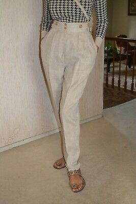 I. Magnin Vintage High Waisted Tapered 100% Linen Pants for Women in Size 4