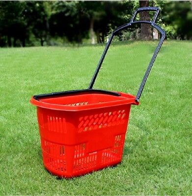 1X Plastic Red Rolling Shopping Baskets with 4 Wheels