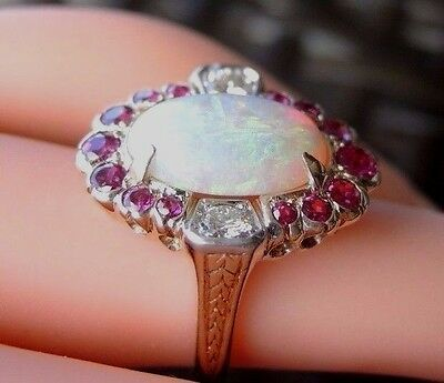 Antique Vintage Retro Diamond Opal Ruby Engagement Ring 14K Yellow White gold