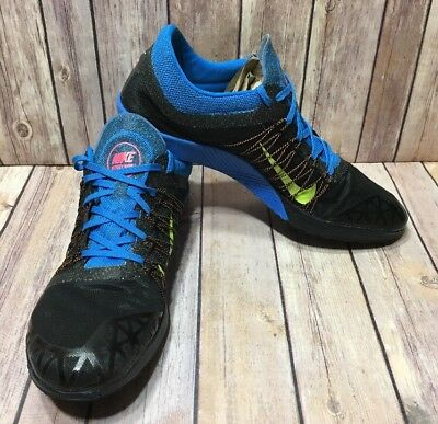 EUC Womens Nike Flywire Victory Waffle Cross Country Shoes Size 14 Black/Blue