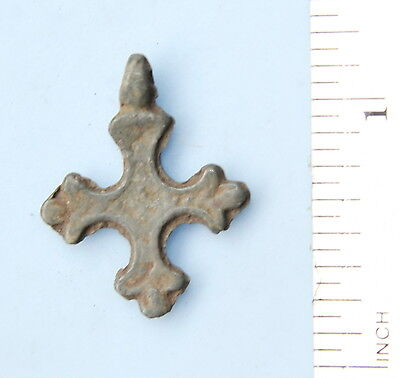 Ancient Old Casting Cross. Metal Plastics From The Bronze Age. (FR09)