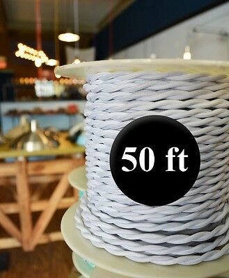 WHITE Cloth Covered Twisted Wire 50ft Roll - Lamp Cord - Antique Fan