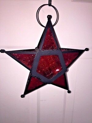 Vintage HANGING Art Nouveau Tealight MORAVIAN STAR Stained RUBY RED Glass LAMP