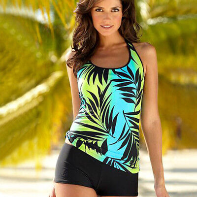 Women Two Piece Floral Print Tankini Sporty With Boy Shorts Swimsuit Beachwear