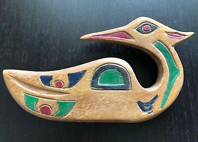 Vintage Haida Native Wooden Carved Painted Bird Northwest Coast Art NICE NR