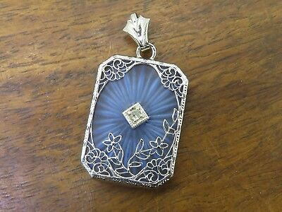 Vintage rhodium ART DECO BLUE CAMPHOR GLASS DIAMOND FILIGREE charm pendant