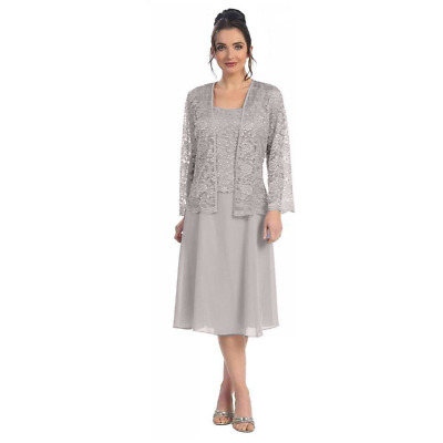 Short Silver Mother of the Bride Dress Formal Plus Size