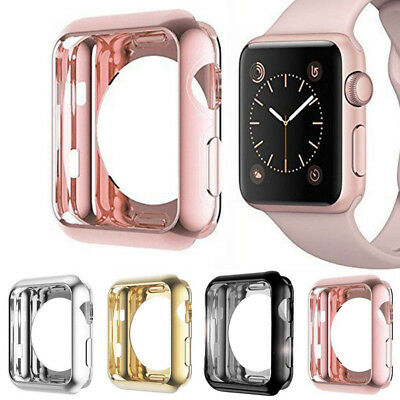 For Apple Watch Series 3/2/1 TPU Bumper iWatch Screen Protector Case Cover 38/42