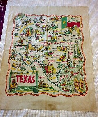 Old souvenir Texas cloth wall hanging with black stereotype caricatures