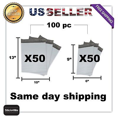 "X50 6""x9"" 2 + X50 10""X13"" Light Bags Poly Mailers Envelopes Shipping Self Seal"