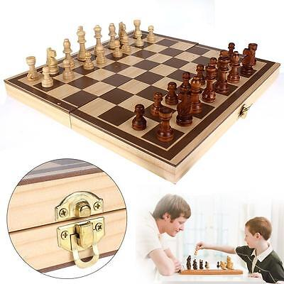 3D Foldable Wooden Chess Set Pieces Wood Checkers Board Storage Box Kids Toy WT