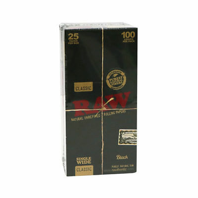 RAW Classic Black Single Wide - Box 25 PACKS - Rolling Papers Press Ultra Thin