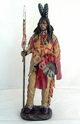 "14"" Inch Indian Warrior w/ Spear Indio North American Statue Figure Figurine"
