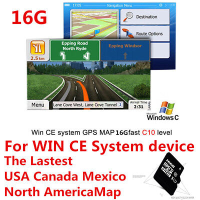 Microsd Card 16GB(USA Canada Mexico Map)For WIN CE system device Car GPS Nav Map