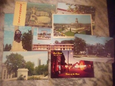 Old Postcards 8 In Lot 50's Or Early 60's  Tennessee Memphis Nashville