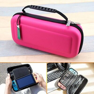 PINK & Protective Carry Case Cover Pouch For Nintendo Switch Console WaterProof