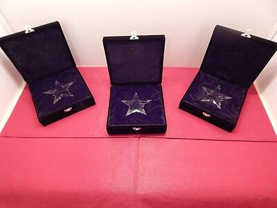 4 1/4 Inch Crystal Star Award Paperweight with Black Velvet Case   Lot of 3  New