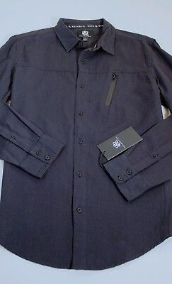 New Mens M L Rock & Republic Shirt Black Zipper Pocket Button Front $60