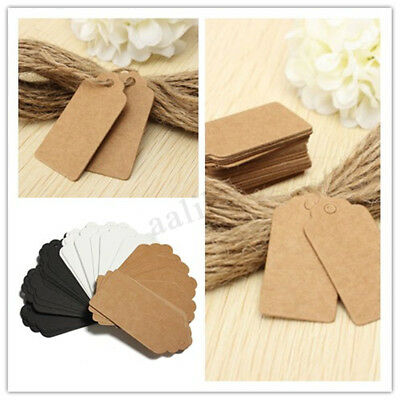 100Pcs 9 x 4.5cm Kraft Paper Gift Tags Price Wedding Scallop Label Blank Luggage