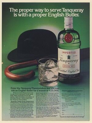 1986 Tanqueray Gin Proper Way to Serve with English Butler Print Ad