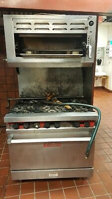 Vulcan Range Oven and Salamander Cheese Melter Gas Commercial stove industrial