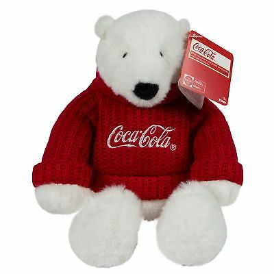 """Coca-Cola 8"""" Sweater Bear Plush 8 inch Adorable Holiday Icon For Kids"""