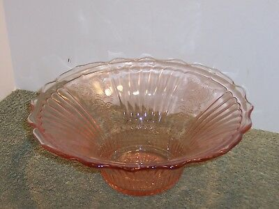 "MAYFAIR OPEN ROSE Large Fruit Bowl~12"" Centerpiece Pink Depression Glass"