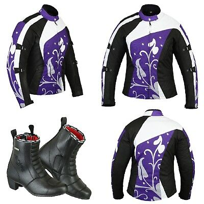Ladies Women Motorcycle Motorbike Waterproof Cordura Jacket Leather Boot Racing