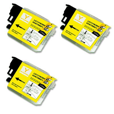 3 YELLOW Ink Cartridge for Brother LC61Y MFC 290C 295CN 490CW 495CW J265w 270w