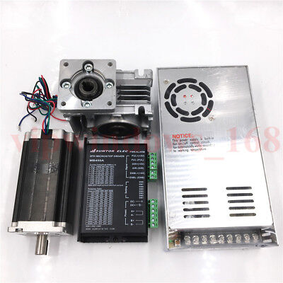 60Nm Nema23 Stepper Motor L112mm 20:1 Worm Gearbox Driver Kit+Power Supply CNC