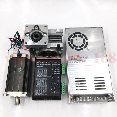 L112mm Stepper Motor Driver Nema23 90Nm + 30:1 Worm Gearbox Reducer Supply Kit
