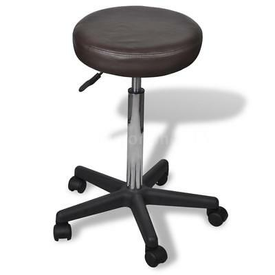 Adjustable PU Leather Office Stool Bar Chair Home Kitchen Furniture Brown S4O3