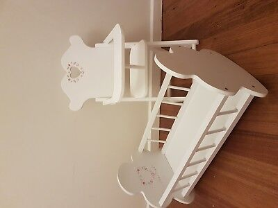 wooden doll high chair & rocking cradle