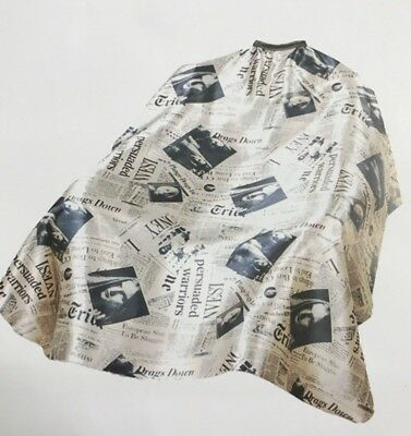 Newspaper Cape Gown For Barbers (Brown) - Salon - Hairdresser Premium Fabric
