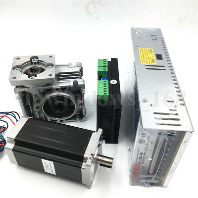 Nema23 1.8Nm Stepper Motor Worm Gearbox Driver Kit L76mm&Power Supply CNC Router