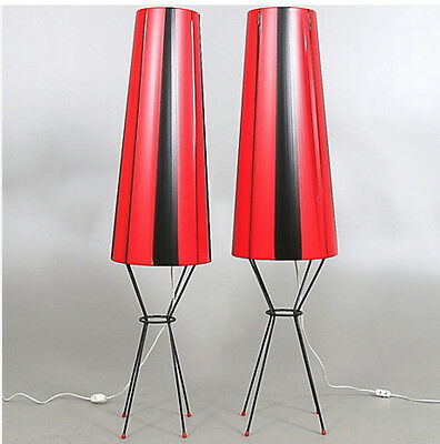 MID CENTURY MODERN PAIR OF TALL FLOOR LAMPS LIGHTS MODERNIST RED BLACK  1950s.
