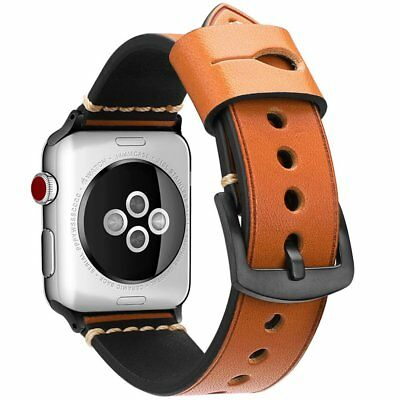 Genuine Leather Watch Strap Band for Apple Watch 38mm Series 3 Series 2 Series 1