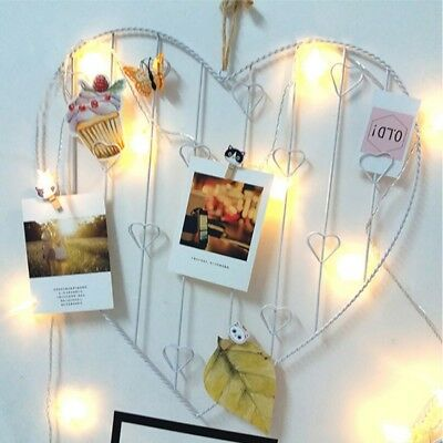Heart-shaped Metal Grid Wall Hanging Decor DIY Photo Wall Frame Postcard Holder