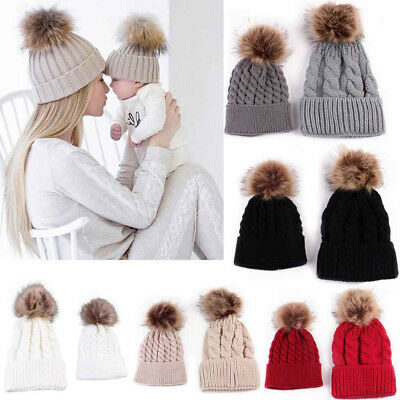 Mom And Baby Knitting Keep Warm Hat