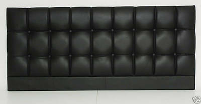 Modern Buttoned Black King Size Bed Headboard 5' Contemporary Faux Leather