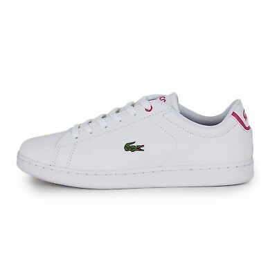 10c842b296 Lacoste Carnaby Evo Bl 1 Spj White Pink Girls Womens Trainer Shoe Size 4  4.5 5