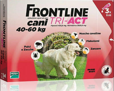 Frontline Tri Act Cane 40-60 Kg Spot On  3 Pipette Scadenza 10/2018