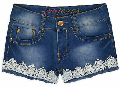 Girls Crochet Lace Trim Denim Shorts New Kids Summer Jean Shorts Age 3-10 Years