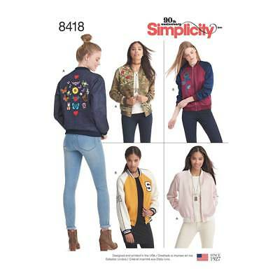Misses Lined Bomber Jacket   Simplicity Sewing Pattern 8418