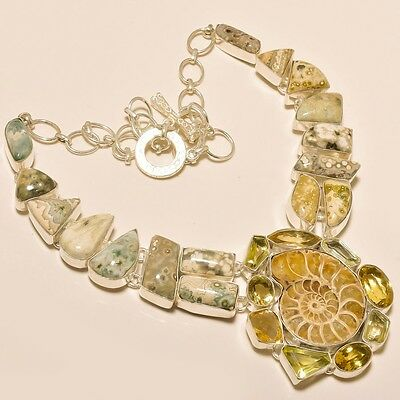 115 Gm Natural Ocean Jasper,Ammonite Fossil Silver Overlay Necklace Ss-590