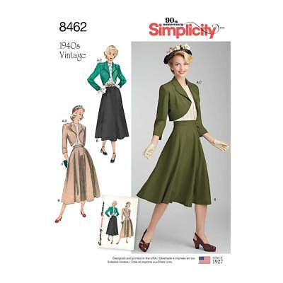 Womens Vintage Blouse, Skirt & Lined Bolero | Simplicity Sewing Pattern 8462