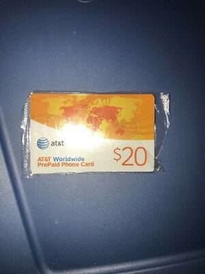 New Original Sealed AT&T Worldwide PrePaid Phone Card $20.00 Value